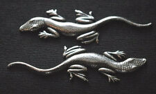PAIR SILVER PLATED LIZARD MENUKI : Decoration for Japanese Samurai Sword