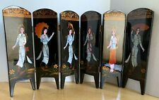 Tabletop 6 Panel Folding Screen Lacquer Wood w/Mother of Pearl Ladies, Dragons