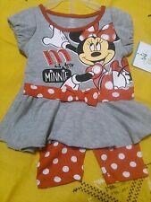 Disney Minnie Mouse 2pc Red Grey Polka Dot Bow Baby Sz 18 Months Capri Set NWT