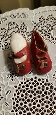 """Antique Red Oil Cloth Oil Doll Shoes side snap w/ metal buckle & bow 1 3/4"""" L"""