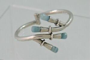 1968 Taxco Sterling Silver Modernist Hinged Bracelet Jade Tips Great Mechanism