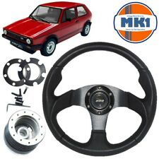 VW Golf Mk1 Gti Negro Cuero Motorsport estilo volante, jefe Kit Y Bocina