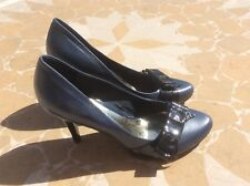 DUNE.  NAVY LEATHER AND PATENT BOW. STILLETO COURT SHOES. SIZR 6 EUR 39