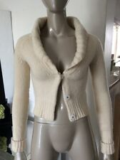 Theory Cashmere Wool Beige Heavy Ply Cardigan Sweater Shrug Petite