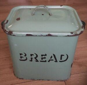Large Vintage Green Enamel Rectangle Metal Bread Bin Tin Box 1950's With Lid