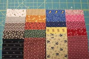 """(40) REPRODUCTION JELLY ROLL 2.5X44"""" STRIPS QUILT FABRIC BY MARCUS-C"""