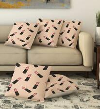 Lipstick Print Cushion Cover Pillow case Couch Sofa Home Décor Set Of 5