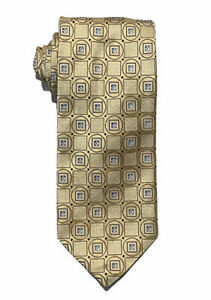 Ermenegildo Zegna NWT Men's Yellow Geometric Shapes 100% Silk Tie Italy 3.5""