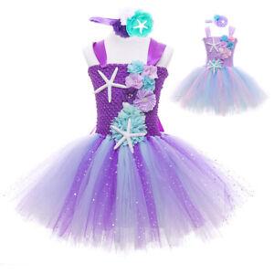 2PCS Kids Girls Mermaid Tutu Dress Clothes Sets Birthday Beach Dresses Costume