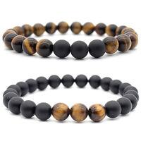 2 stücke 8mm Tigerauge Stein Perlen Armband Naturstein Armbänder Yoga Armreif
