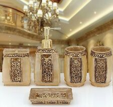 5pcs resin bathroom set bath accessories soap dispenser dish toothbrush holder - Gold Bathroom Accessories