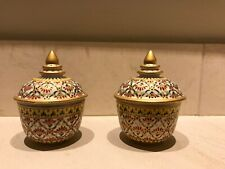 2 Thai Benjarong Cup Porcelain Pottery Bowl Hand Painted Lid Ceramic Collectible