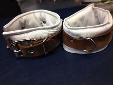 9 pc Padded white Leather collar thigh cuffs set custom collar locking wrist ank