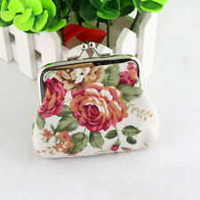 Womens Girl Floral Mini Wallet Change Coin Card Pouch Clasp Hasp Handbag White