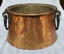 Antique Vintage LARGE Copper Cauldron Kettle Apple Butter Pot - Forged Handles