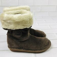 CLARKS Brown Suede Leather Fleece Winter Boots Toddler Little Girls Size 12W