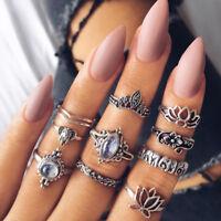 Qu_ 10Pcs Women Vintage Lotus Rhinestone Hollow Out Finger Ring Set Jewelry Chea