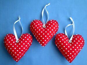 3 x LARGE RED WHITE DOTTY HANDMADE SHABBY CHIC HANGING FABRIC HEARTS