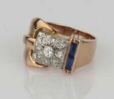 14K and Platinum Art Deco Belt Ring with Sapphires and Diamonds