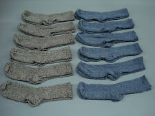 Women's Bulk Merino Wool Blend Ribbed Socks Shoe Size 6-9 Brown/Blue 100 Pair