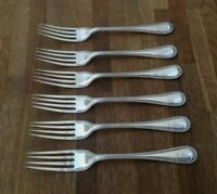 "VINTAGE CUTLERY - SET OF 6 FORKS - SILVER PLATED = SIZE 7.1""  #F289"