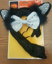 Black Cat White Costume Kit Headband Ears Bow Tie Tail