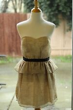 NEW BCBG Generation Size 8 Women's Beige Dress Strapless Cocktail Medium Peplum