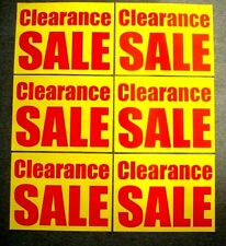 (6) CLEARANCE SALE Window SIGNS  17.5 x 23 Red on Yellow Paper