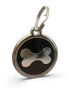 Pet Dog Cat ID Engraved Name Tag Personalized Stainless Steel Black Bone