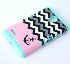 For LG Optimus L9 P769 - HARD & SOFT RUBBER HYBRID IMPACT CASE PINK BLUE CHEVRON
