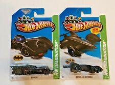 LOT OF 2 HOT WHEELS HW IMAGINATION 2013 BATMAN LIVE BATMOBILE  & BATMOBILE NIP