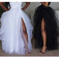 Women's Tutu Skirt Side Slit Bubble Half Dress Fishtail Mesh Long Tulle Slim