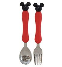 Disney Mickey Mouse Stainless Red Spoon Fork SetCutlery Cute Design Utensils