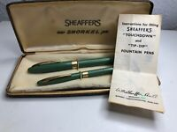 Vintage Sheaffer Snorkel Fountain pen/pencil Green/Gold Boxed/Instructions