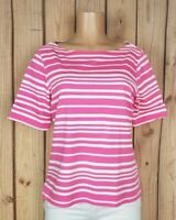 KIM ROGERS Womens Size Large Petite Short Sleeve Shirt Boatneck Pink Striped Top