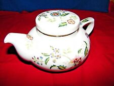 TEAPOT ANDREA BY SADEK PORCELAIN WHITE W/FLORAL PATTERN GOLD TRIM ON RIM
