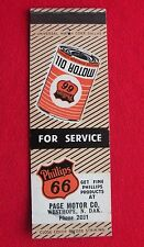 Vtg PHILLIPS 66 Mathcover Page Motor Company WESTHOPE North Dakota