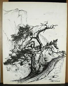 Francine Perrot Drawing 1970 Solid Of Dolomites The Band Of Sella Italy 50 CM