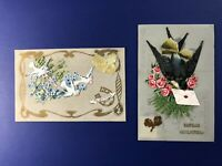 2 Novelty Antique Postcards Mica Celluloid 1900s. French & Dutch. For Collectors