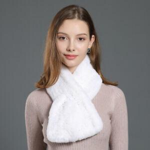 Real Rex Rabbit Fur Scarf Women Winter Warm Shawl Wraps Super Warm Soft Handmade