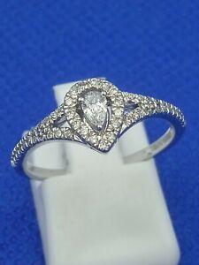 H Samuel 14 Carat White Gold 0.30 Ct Diamond Ring Size O 2.7g Adrianna Papell