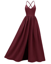Formal Women Bridesmaid Evening Dress Strap Sling Prom Backless Party Ball Gown