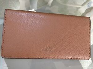 NWOT Coach RARE Pebbled leather checkbook cover holder wallet british tan saddle