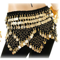 Sexy Belly Dance Hip Skirt Gold Coins Hip Scarf Party Wrap Belt Halloween Black