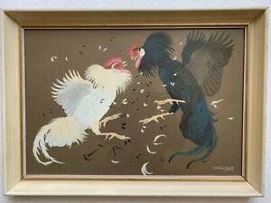 RALSTON GUDGEON - RSW - Scottish Artist - Large Painting of Fighting Cocks.