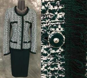 BEAUTIFUL St John collection knit green fringe jacket skirt suit size 8