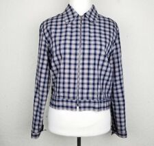 Esprit Women blazer size M plaid blue white full zipped collared long sleeves