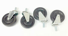 "(4) Light Duty Swivel Casters with 3"" Rubber Wheels 3/8"" Threaded stem"