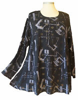 Fest Shirt Stretch Spitze blickdicht Schwarz Grau Silber Gr. 54 56 58 60