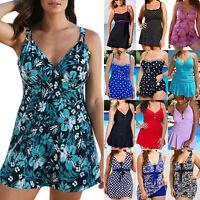 Plus Size Women Swimdress Swimsuit Tankini Skirted Swimwear Beachwear Bathing XL
